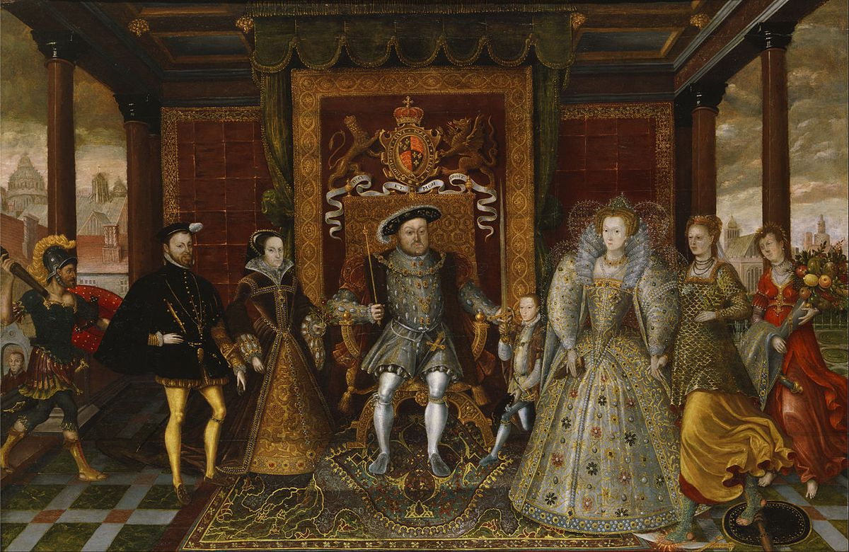 Painting depicting the family of Henry VIII, including Henry, Philip II of Spain, Mary I, Edward VI and Elizabeth I