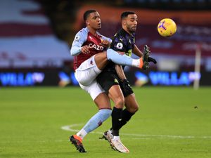 "Aston Villa's Ezri Konsa (left) and Newcastle United's Callum Wilson battle for the ball during the Premier League match at Villa Park, Birmingham. Picture date: Saturday January 23, 2021. PA Photo. See PA story SOCCER Villa. Photo credit should read: Mike Egerton/PA Wire. RESTRICTIONS: EDITORIAL USE ONLY No use with unauthorised audio, video, data, fixture lists, club/league logos or ""live"" services. Online in-match use limited to 120 images, no video emulation. No use in betting, games or single club/league/player publications."