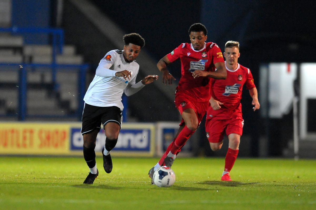 Dominc McHale battles for the ball during the pre-season friendly between AFC Telford United and Wrexham