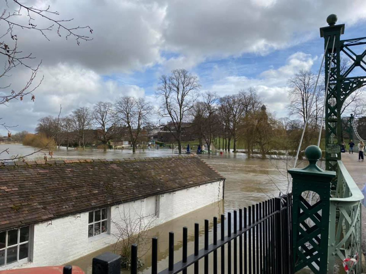 The Boathouse under water in Shrewsbury on Tuesday. Photo: Tom James Clark