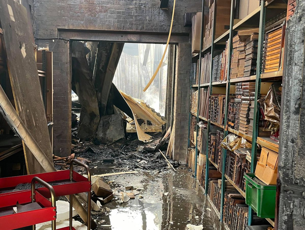 Just some of the fire and water damaged books