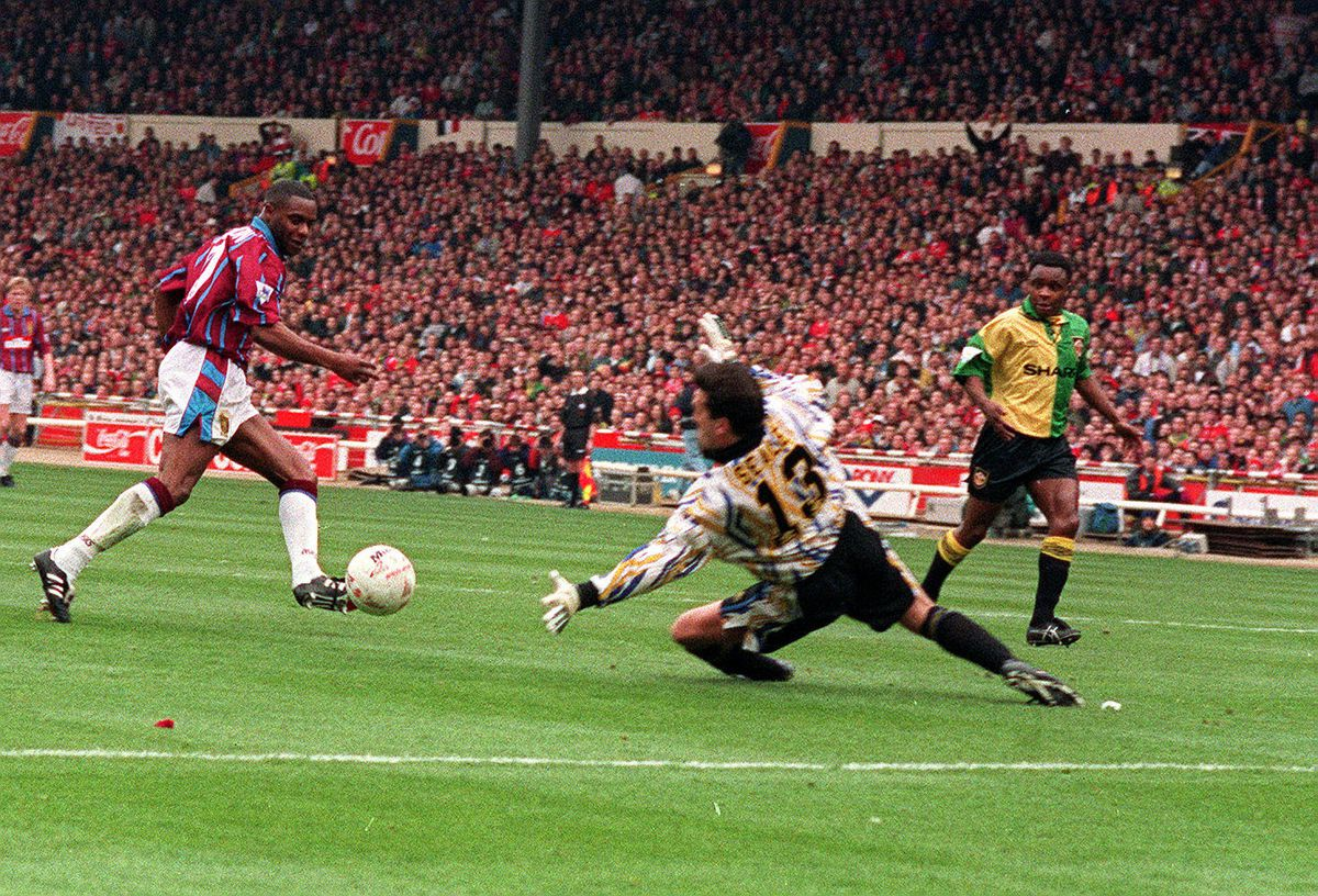 Dalian Atkinson scoring the first goal in the Coca Cola Cup Final at Wembley against Manchester United in 1994