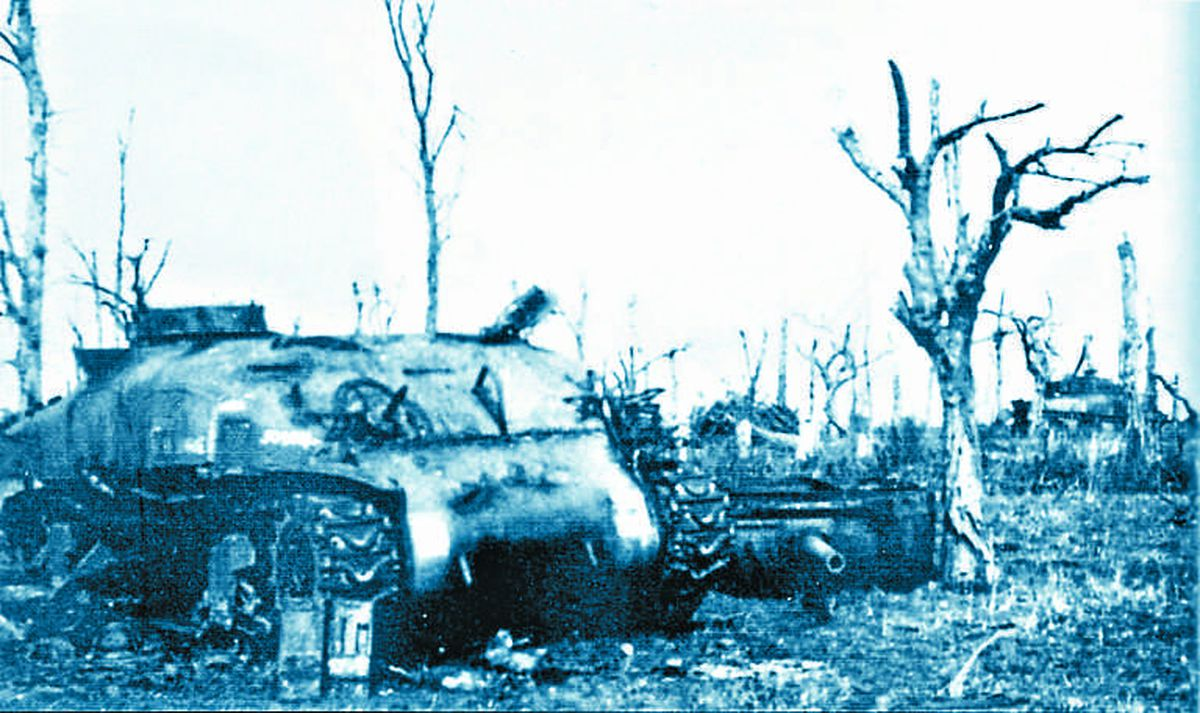The Germans held on to Hill 112 at Baron-Sur-Odon for over a month. This picture shows the devastation at the summit during fighting with the KSLI.