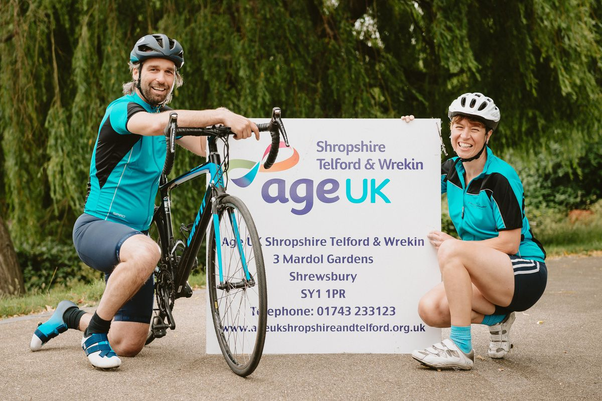 , Dean Suter, an AGE UK Shropshire Telford & Wrekin Volunteer, and Senior Day Services Coordinator Emma Wilde, will cycle the length of Britain to raise funds for vulnerable, lonely older people in Shropshire and Telford & Wrekin..