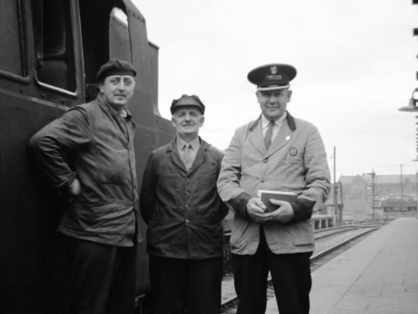 The train crew pose for Les at Shrewsbury station before starting the run to Bridgnorth in August 1963 – from left, fireman Norman Forrester, driver Charles Coughy, and Les's dad Tom, the guard