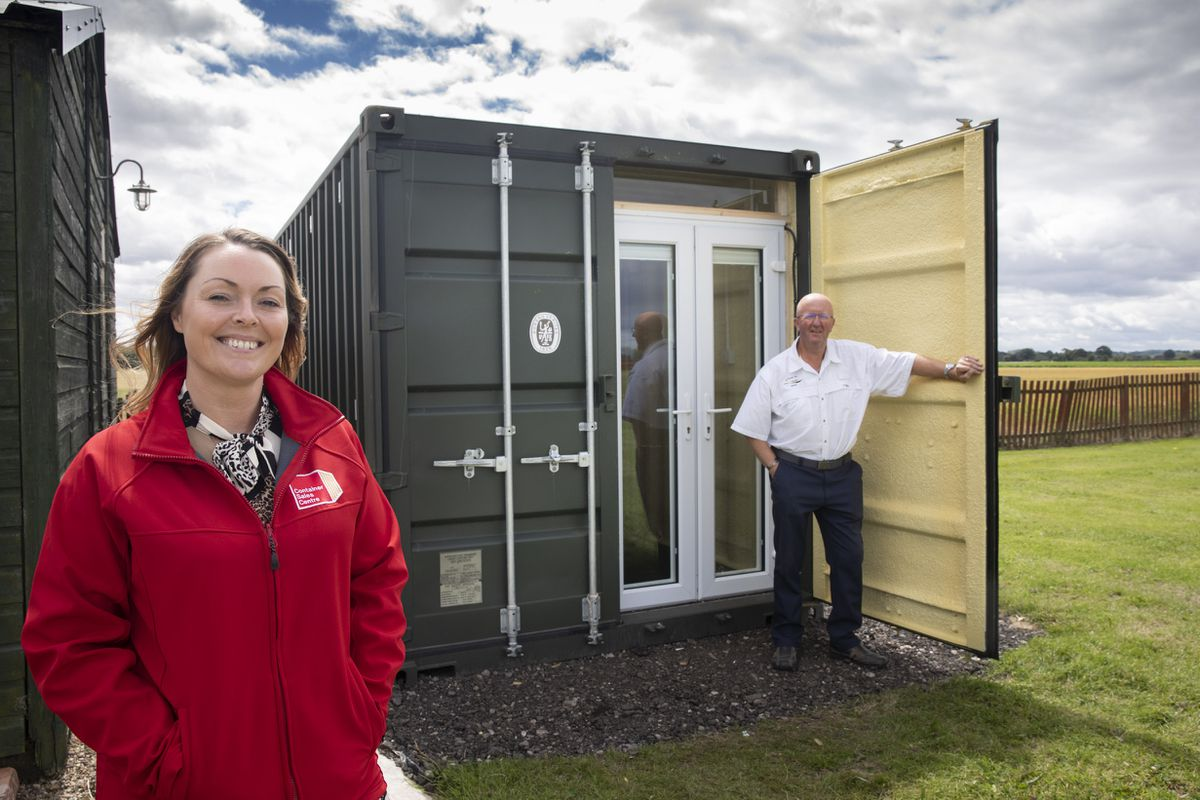 Lisa James, of Container Sales Centre, and Nigel Chesters, of Chesim Air Ltd, at Sleap Airfield