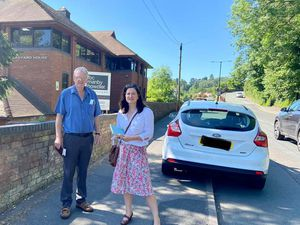 Councillors Les Winwood and Julia Buckley on Underhill Street in Bridgnorth
