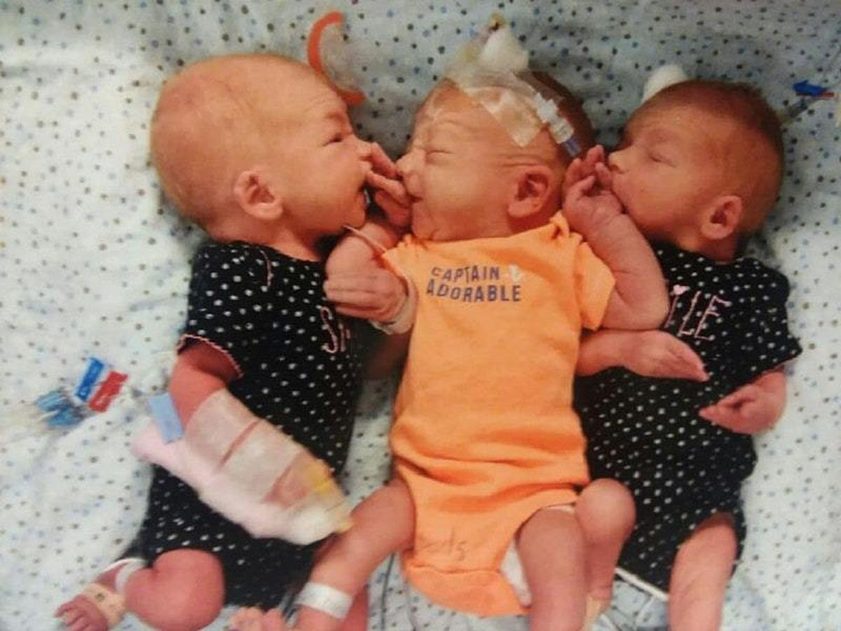 Triplets born to Dannette Giltz, who thought she had kidney stones