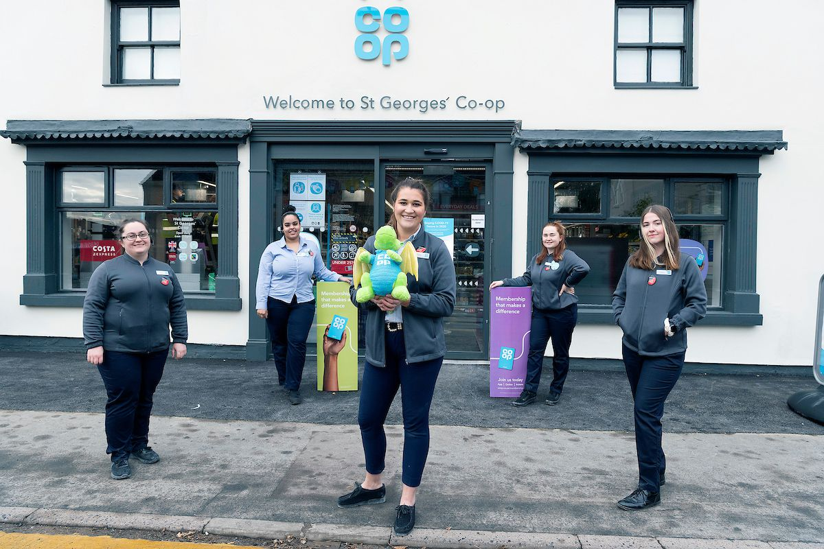 Sophia Munn, Lucy Muncy-Alves, manager Sally Hill, Alex Green and Isobel Breen outside the newly opened Co-op, in St Georges, Telford