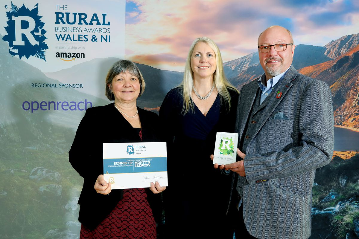 Runner up of Best Rural Tourism Business. Monty's Brewery. L-R: Sheelin Davies Clare Keegan and Russ Honeyman. Pic: Neil O'Connor