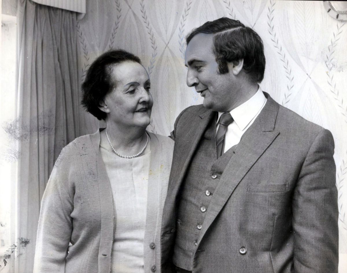 Billy Dainty with his mother Mrs Florence Dainty, at her home in the Ridgeway, Sedgley, in 1974