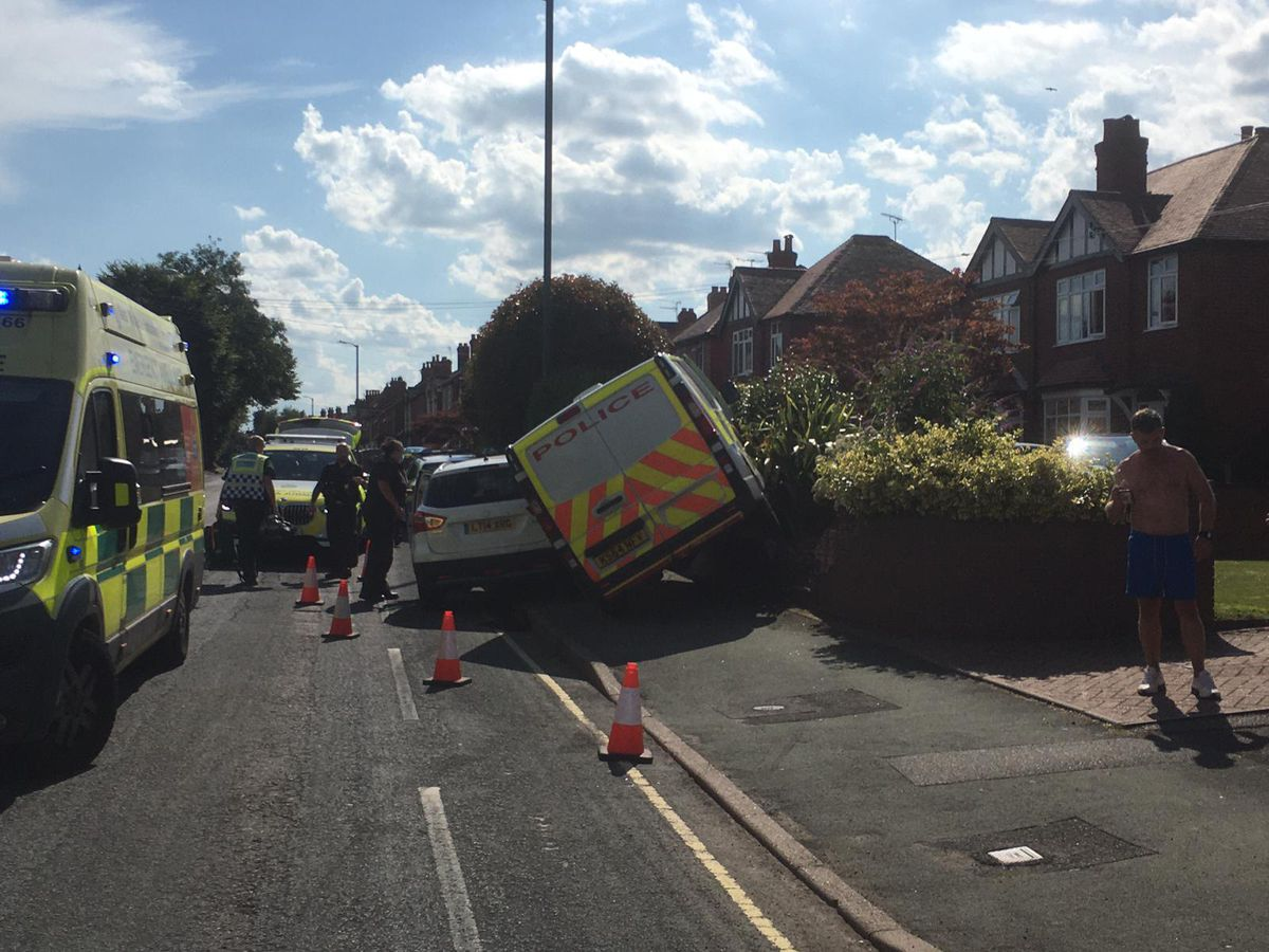 The police van crashed while responding to an emergency