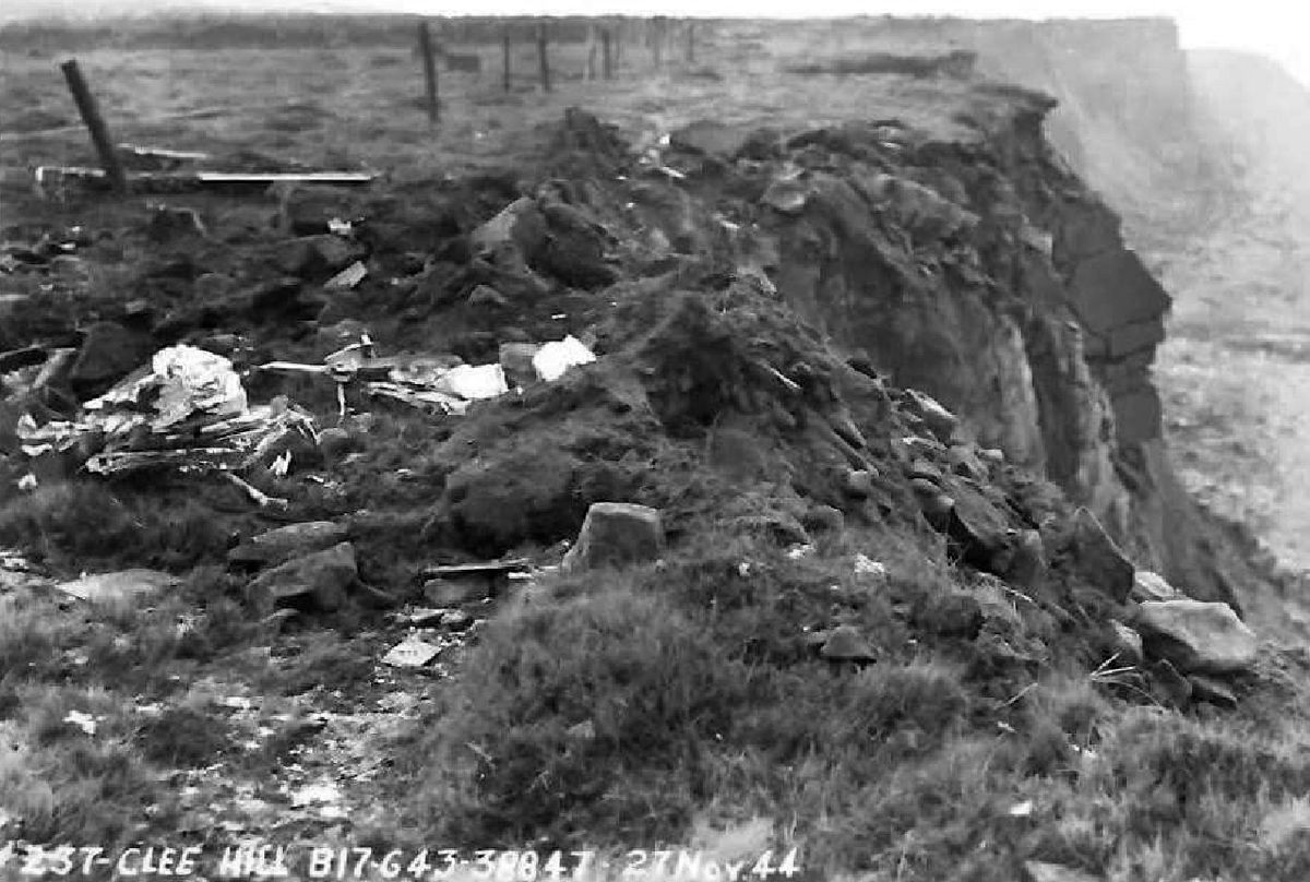 A wing struck the ledge of a quarry at Titterstone Clee Hill