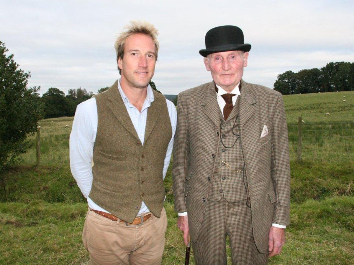 Tom Acton, right, with presenter Ben Fogle during the filming of Escape in Time
