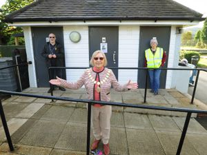 LAST PIC  /  DAVID HAMILTON PIC / SHROPSHIRE STAR 13/10/20 Next to the twinned toilets, at Bowring Park, Wellington, is the mayor of Wellington coucillor Patricia Fairclough, (left) Vic Young from Wellington Rotary Club, and (right) chair of Friends of Bowring Park Kath Howard..