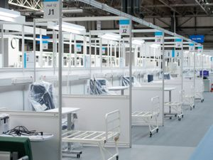 The inside of the NHS Nightingale Hospital at the NEC in Birmingham when it opened last April