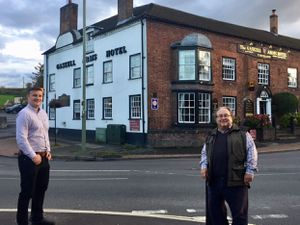 Councillor David Turner (right) with Much Wenlock mayor Daniel Thomas at the Gaskell Arms junction.