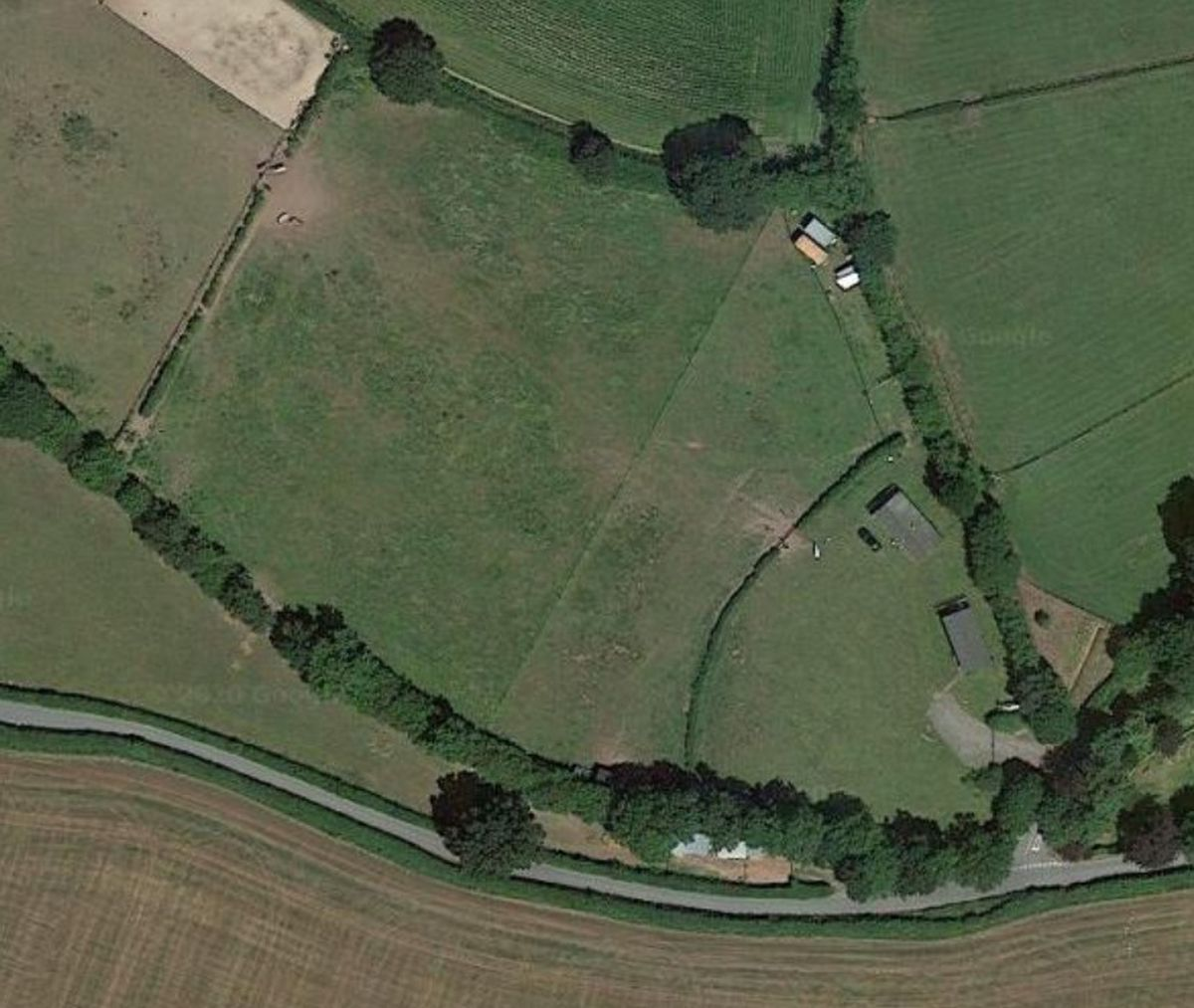 The land near Hinstock where the caravan site would be. Photo: Google Maps
