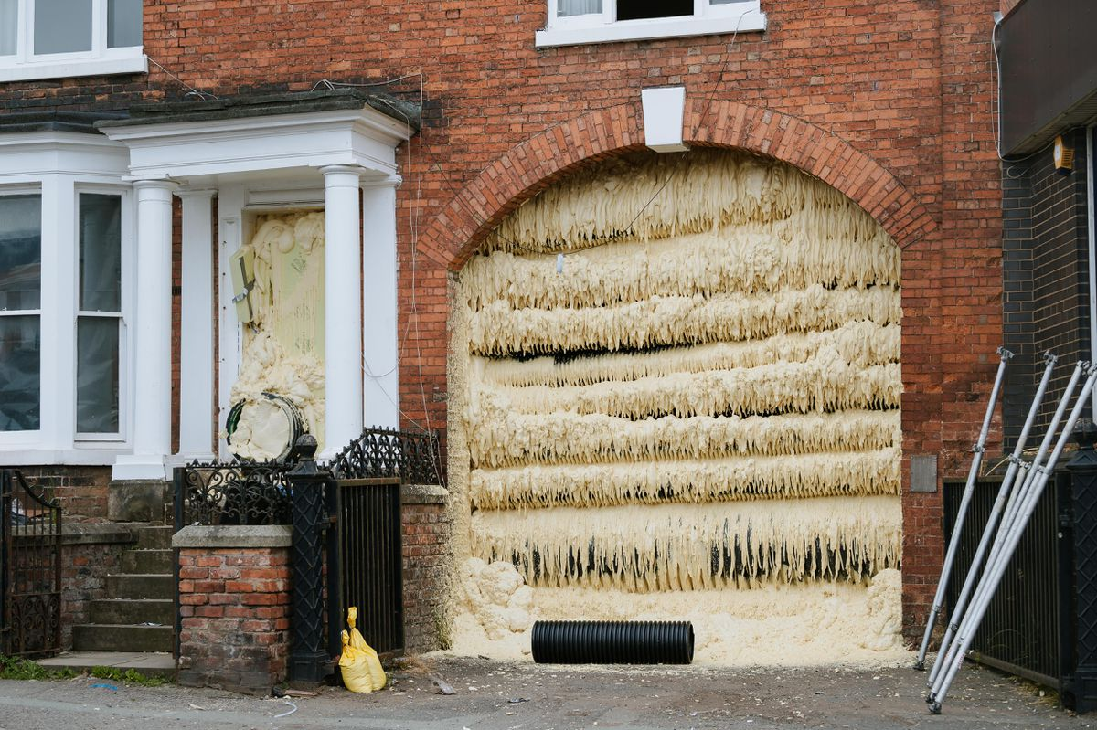 110 St Michael's Street in Shrewsbury has been filled with concrete foam to help prevent its collapse