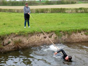 Tess Tinsley, 14, has started training in a nearby stream during lockdown