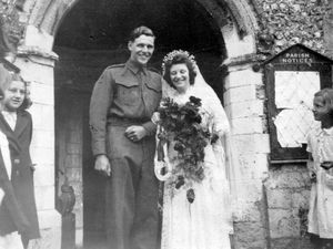 nostalgia pic. Llanymynech. Mystery wedding picture emailed in by John Powell of Oswestry i.e. Hello Toby I'm not sure if this is the sort of photograph that you would use. It was in a box of pictures that I found bit with nothing to say where or when or who. The Church is, I think, in Llanymynech and, I guess, that the picture was taken 1940's and the groom was doing his national service. On the reverse, there is just a number, 313, stamped and the paper is Kodak Velox, 3.5 x 2.5 inches contact print. This was the usual (chloride) paper at the time for D&P processing of film. It would be interesting to hear if anyone recognises the happy couple after this period of time..Trust that you are managing during the lockdown...Best wishes                John Powell. Library code: Llanymynech nostalgia 2020..