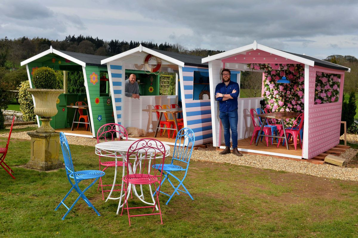 The new beach huts at Sweeney Hall near Oswestry