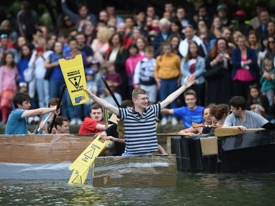 In Video: Students sail through exams and into cardboard boat race