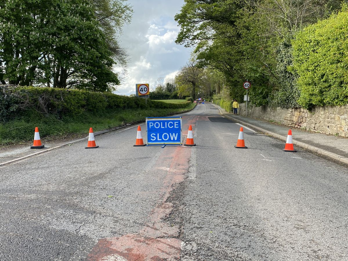 Grange Road, Ellesmere is closed. Picture by Mike Ford