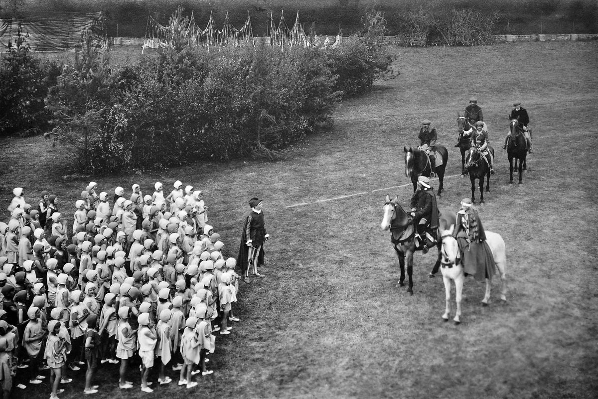 A scene from the spectacular pageant at Ludlow Castle – this is one of a number of images in an album owned by Sir Michael Leighton, of Loton Park, Alberbury, whose parents played the parts of Wild Edric and Godda