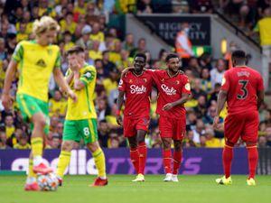 Watford's Ismaila Sarr celebrates scoring his side's third goal against Norwich