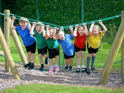 Kids queue to enjoy revamped playground at school near Market Drayton