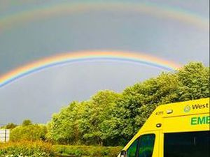 A double rainbow greeted ambulance workers. Photo: @OFFICIALWMAS
