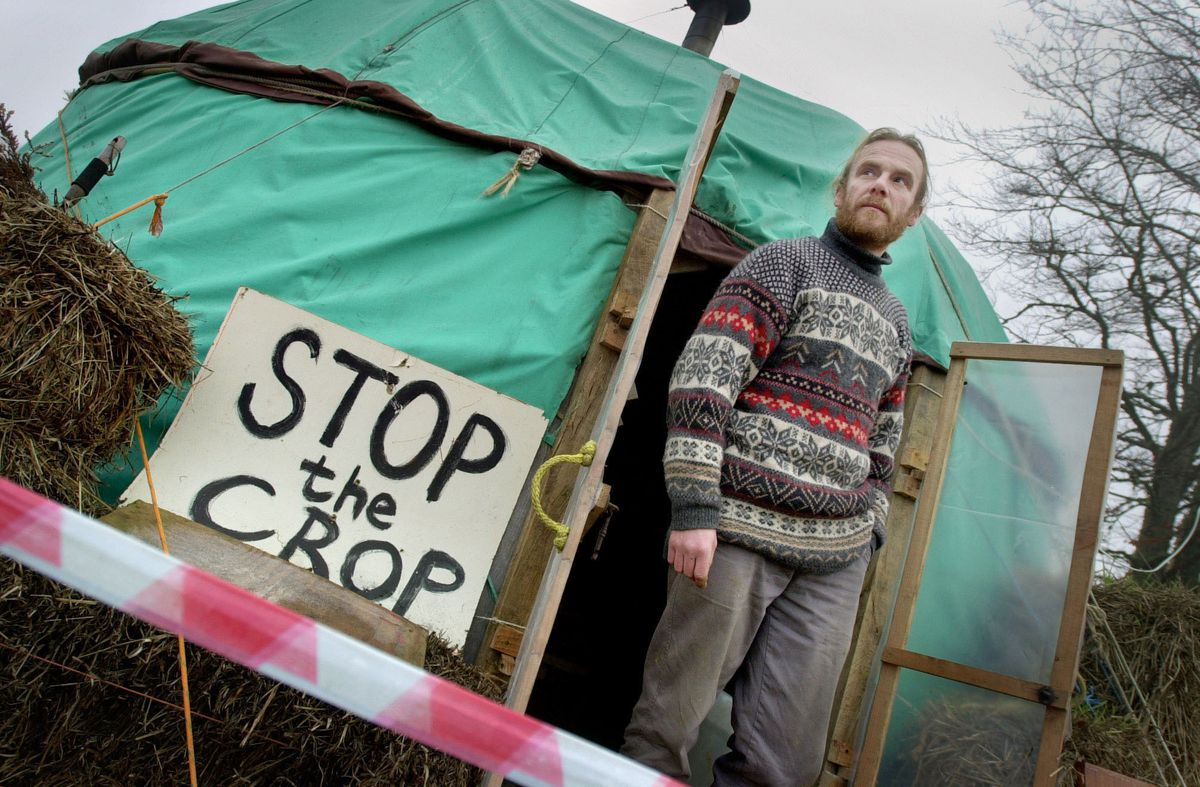 A protester against GM crops