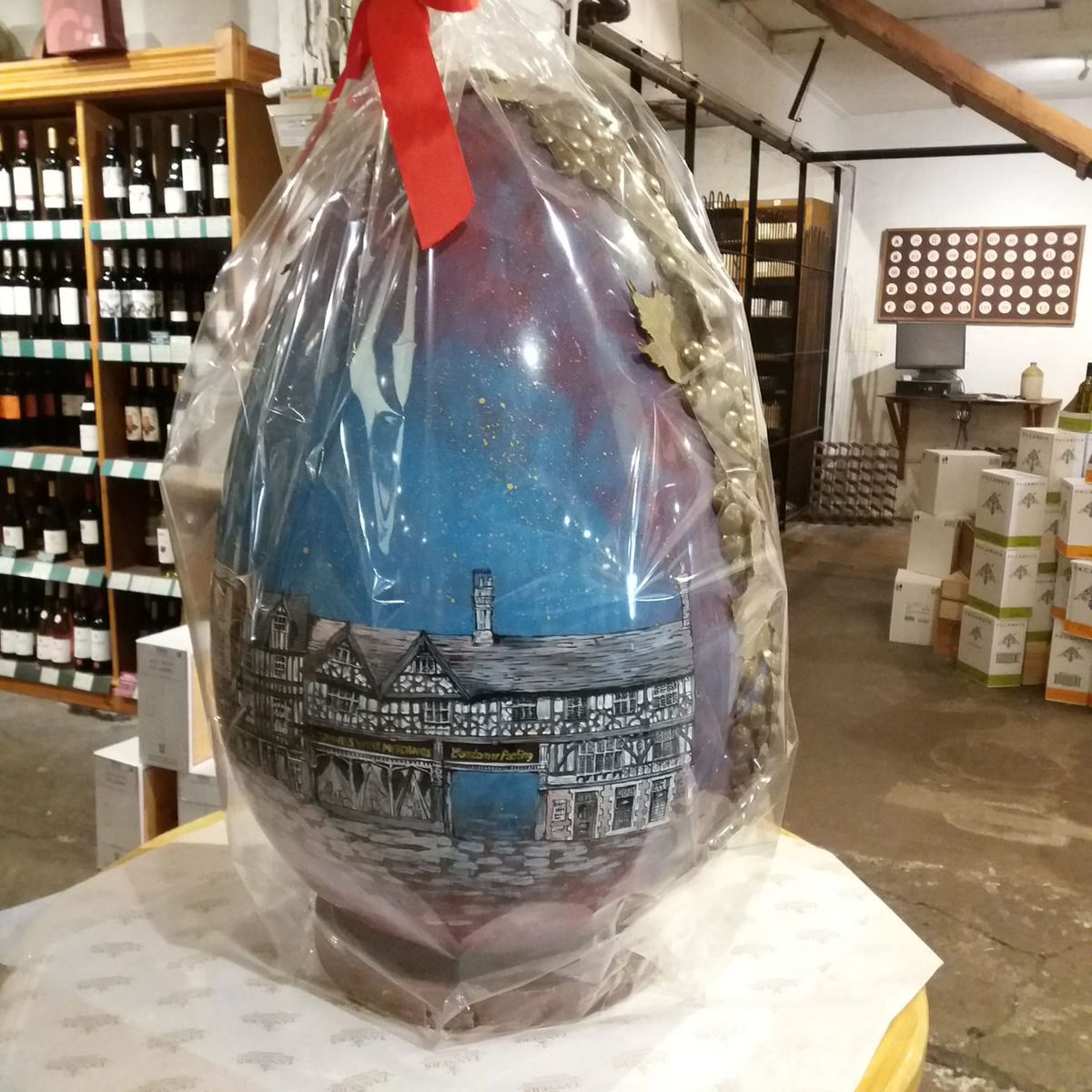 The completed Shrewsbury egg takes pride of place in Tanners' Wine Merchants