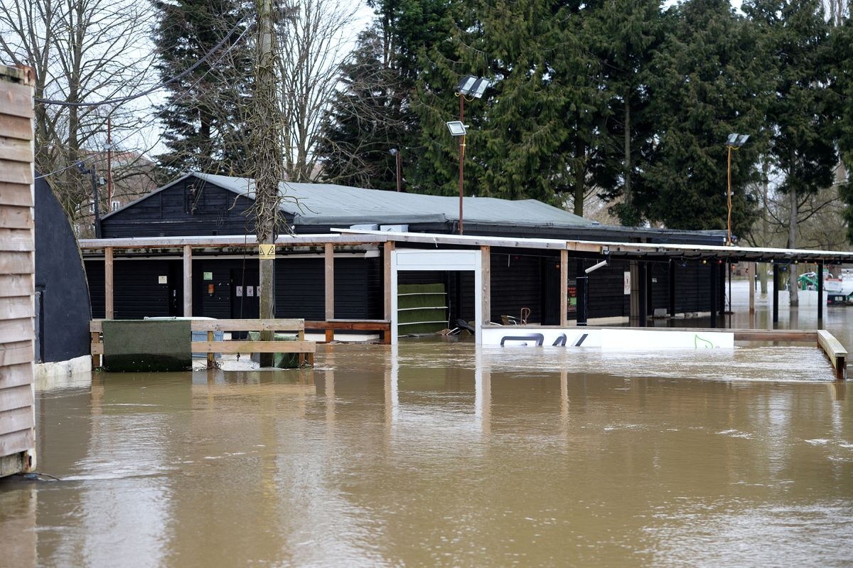 Bridgnorth Rugby Club underwater during sever flooding in early 2020
