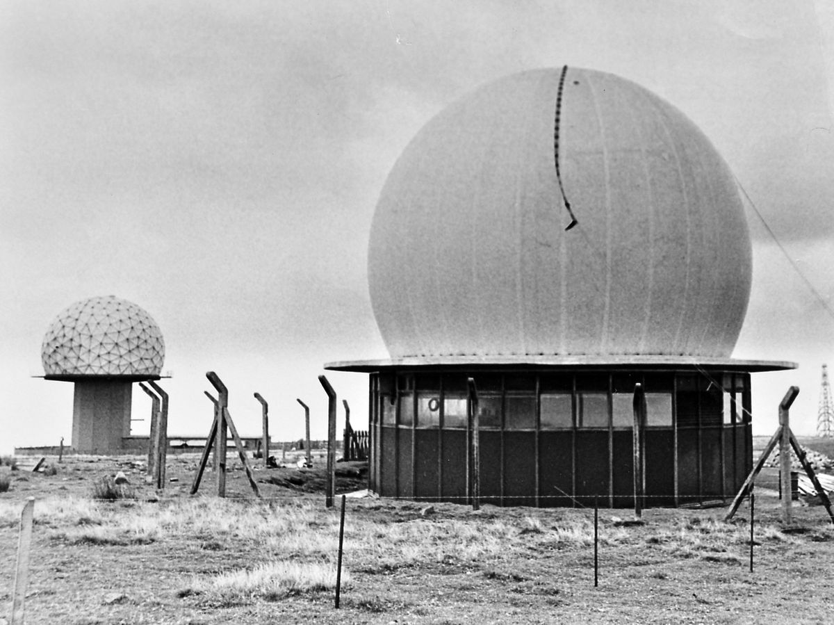 The Clee Hill radar station in September 1978, with a new 40ft radome which replaced one destroyed in a gale.