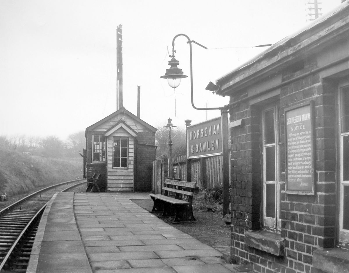 A deserted platform at Horsehay and Dawley railway station in February 1962. The Great Western Railway notice on the wall is a warning to people not to trespass.