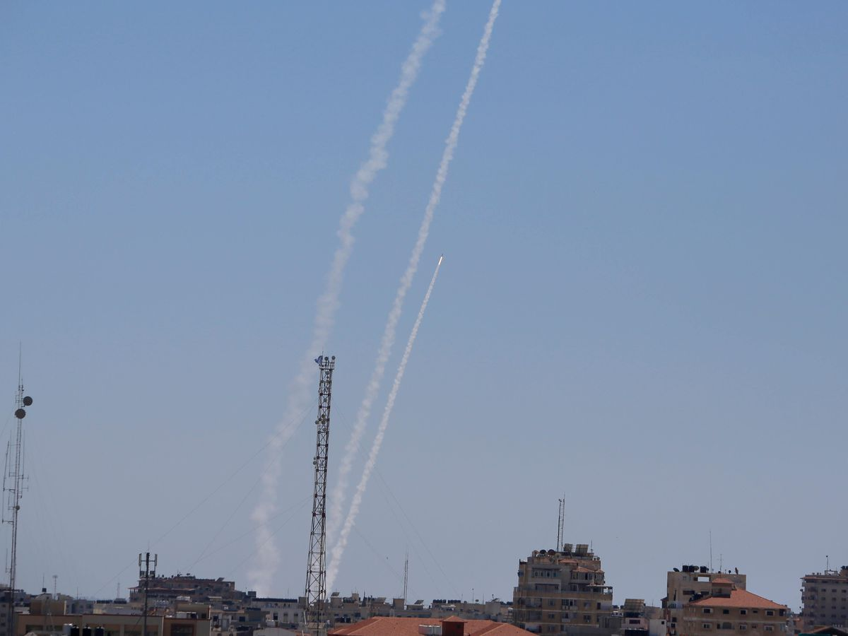 Rockets are launched from the Gaza Strip to Israel