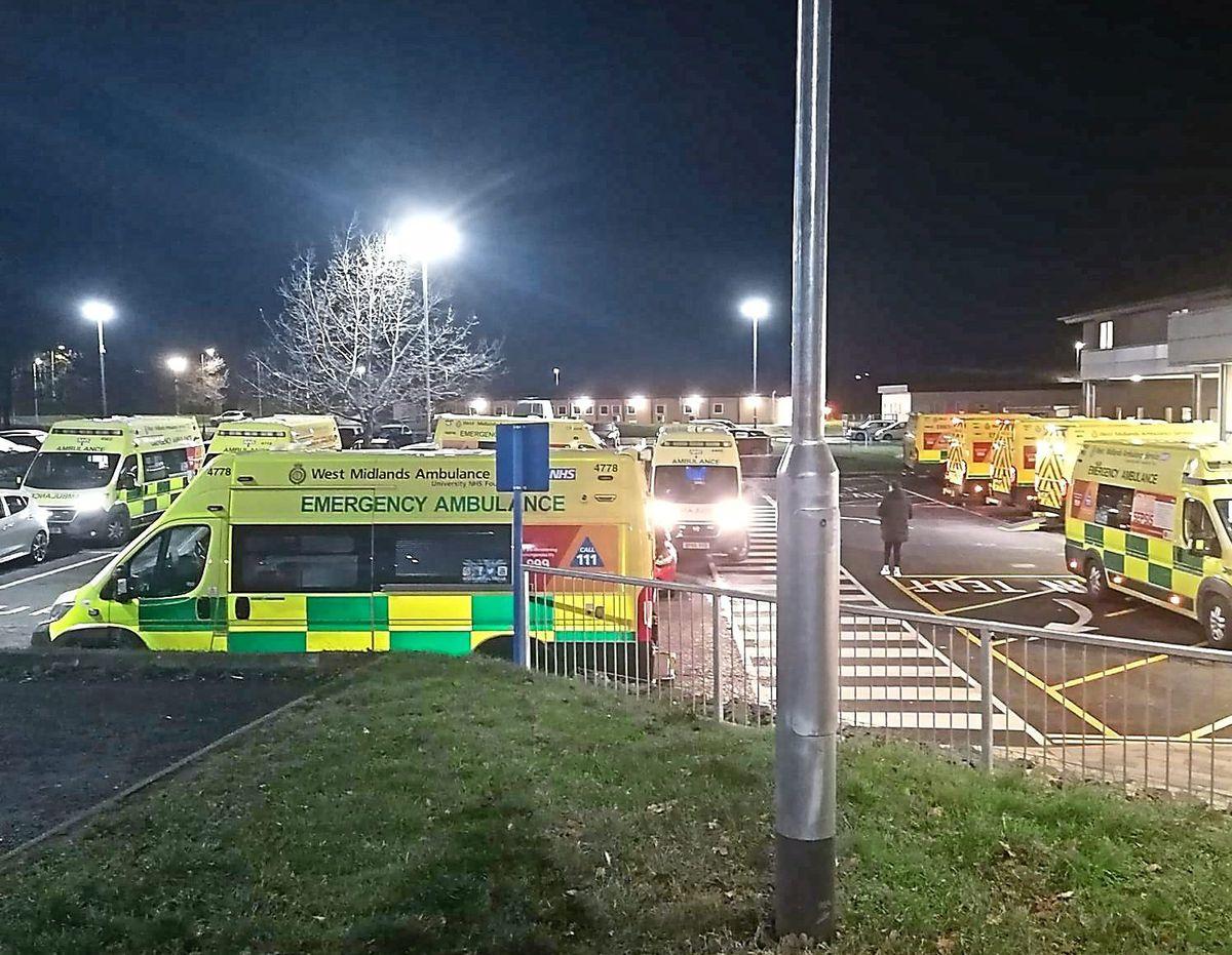 Ambulances queueing to get into Princess Royal Hospital in Telford