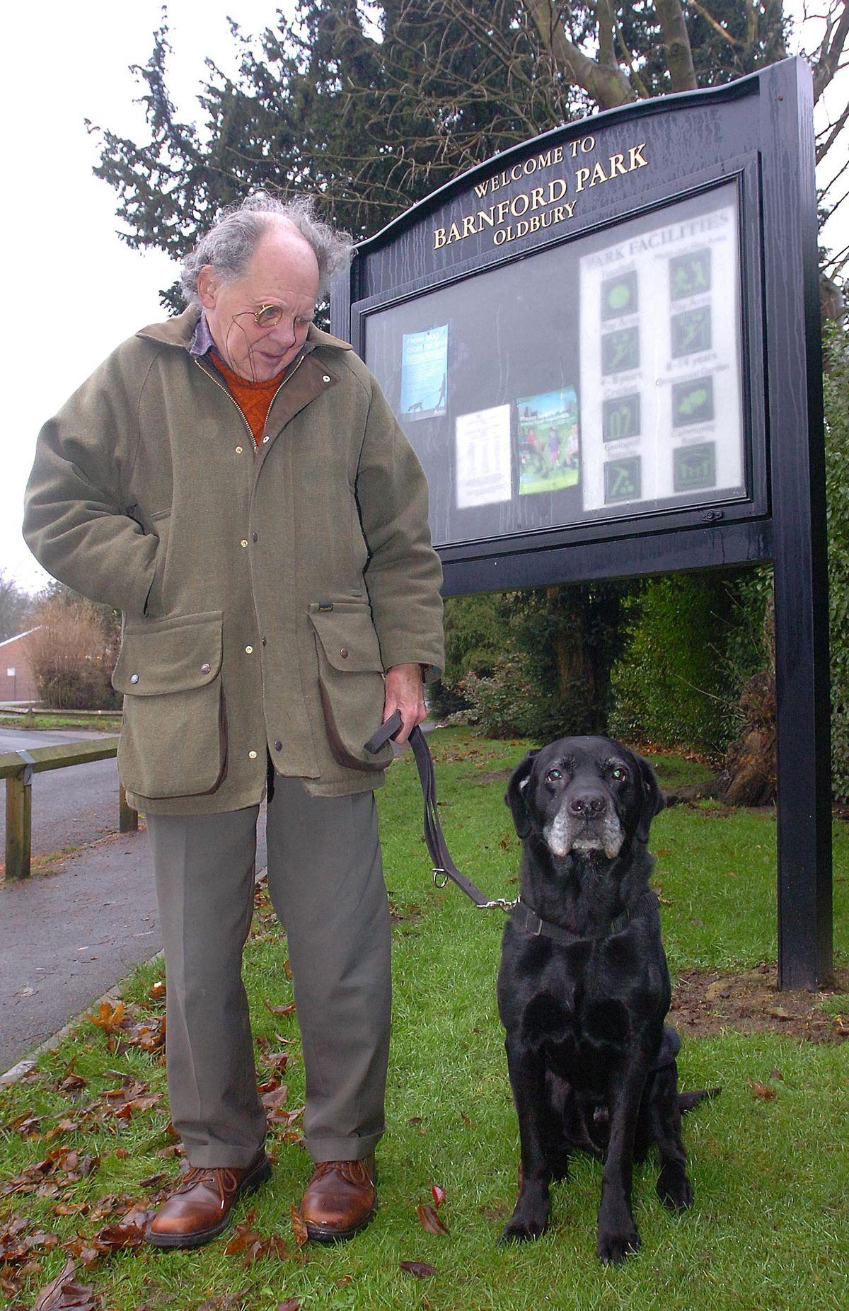 Mr Lloyd with his dog Brewie at Barnford Park, Oldbury, in 2008