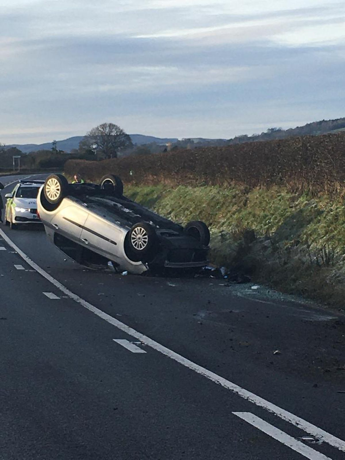 An image posted by police of the overturned car. Picture: OPU Shropshire