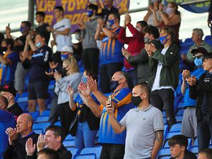 The last time Shrewsbury fans were allowed inside the Meadow was against Northampton in September. Photo: AMA