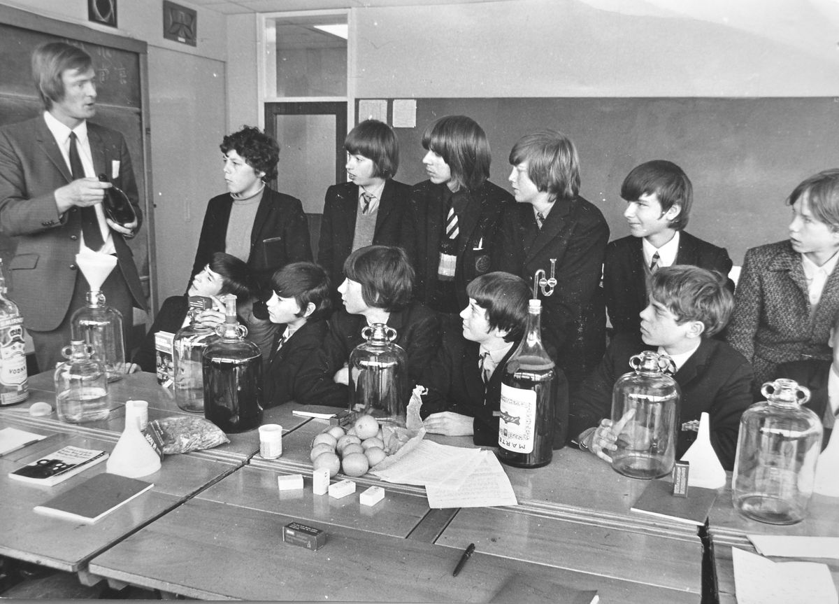 "Grape expectations... Mr K Brennand takes a new winemaking class at Trench Boys' Modern School on September 21, 1972. A new timetable arrangement had enabled the introduction of additional subjects to the curriculum. The head, Mr J R Goddard, said: ""Part of a school's job must be to open up a child's mind, for him to enjoy his leisure time."""