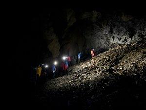 Visitors explore the Corris mine