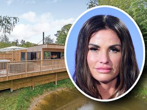 Katie Price, inset, stayed in a log cabin at Henlle Hall