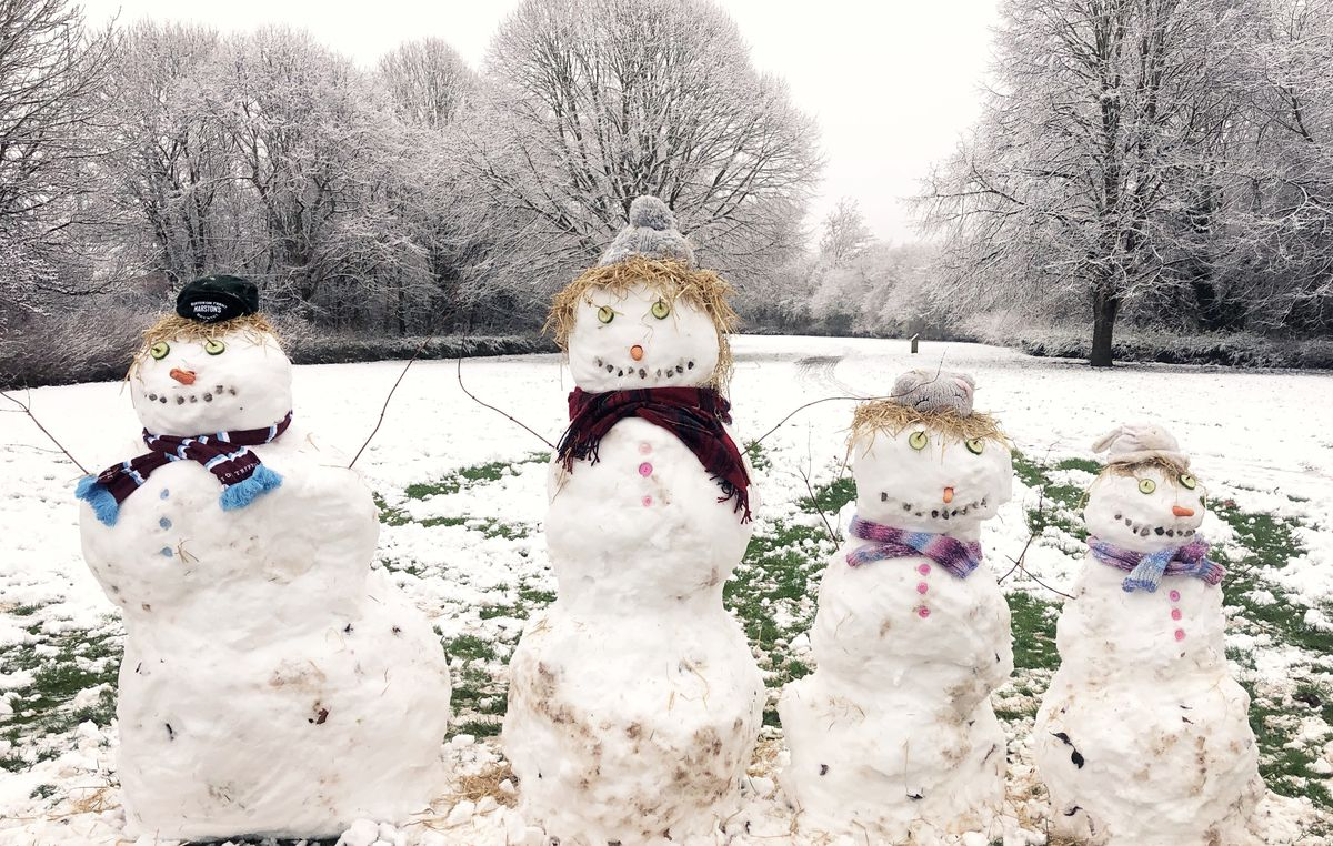 Snowman family in Priorslee, Telford. Pic: Hannah Powell