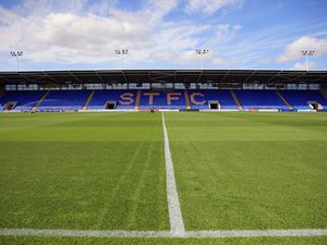 A general view of the Montgomery Waters Meadow home stadium of Shrewsbury Town (AMA)