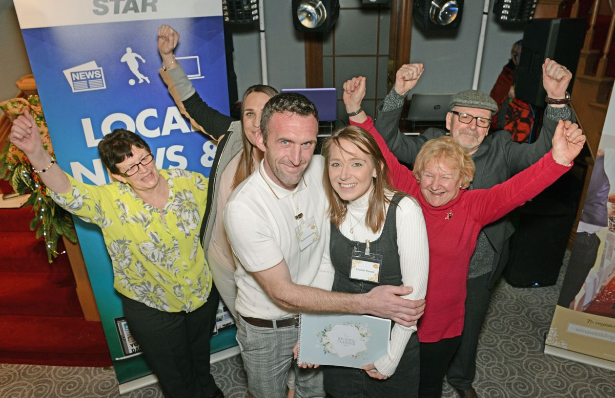 Siobhan Russell and Daniel Humphries celebrate with family