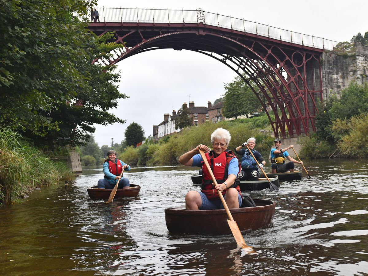 Ironbridge Coracle Trust members on the River Severn with Jude Pilgrim leading the way followed by Anne Ketchen, Deborah Lowe and Jude Kristian. Picture by Dave Bagnall