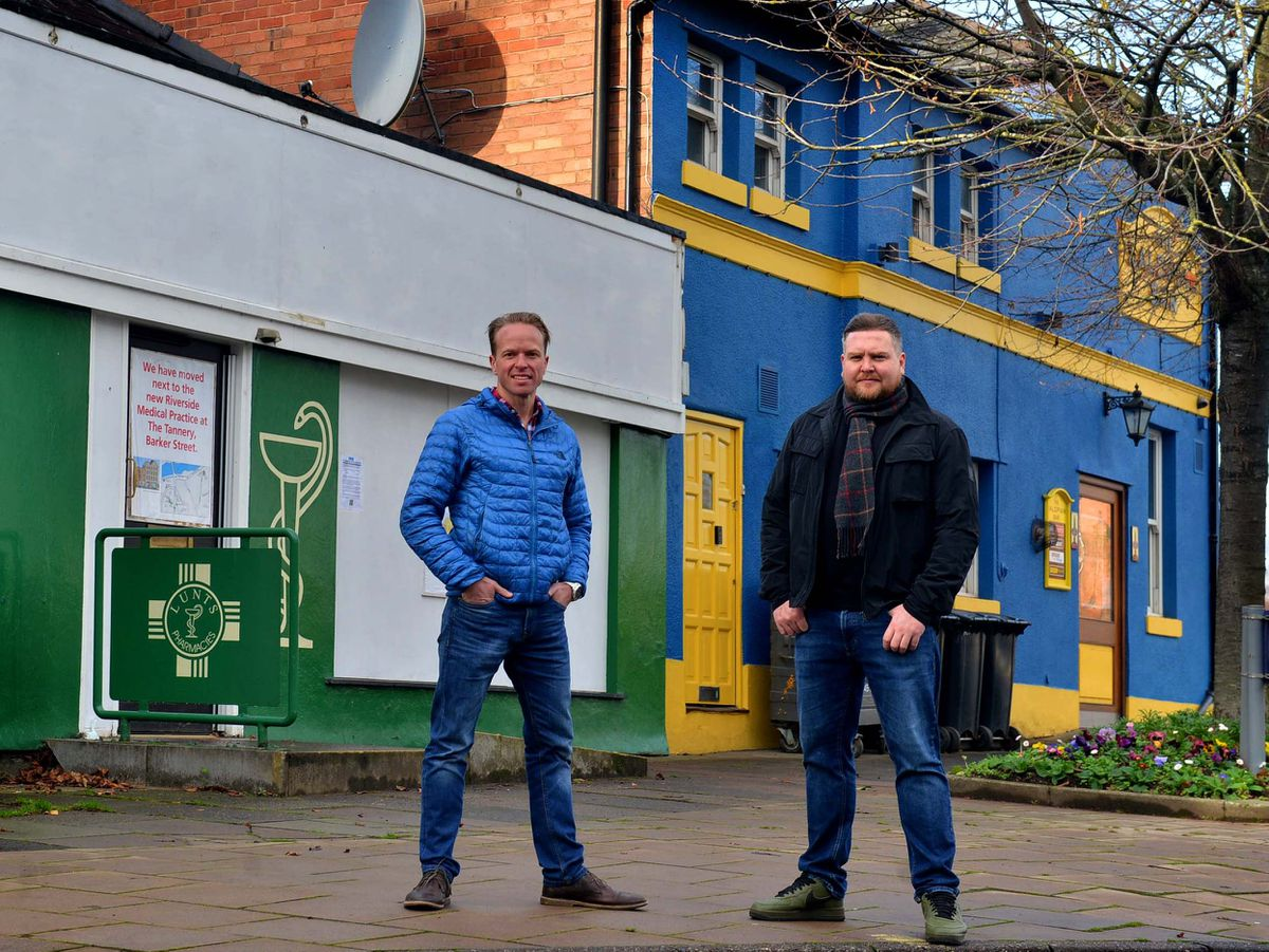 Ollie Parry and Kevin Rippard from the Salopian, which has acquired the former pharmacy next door